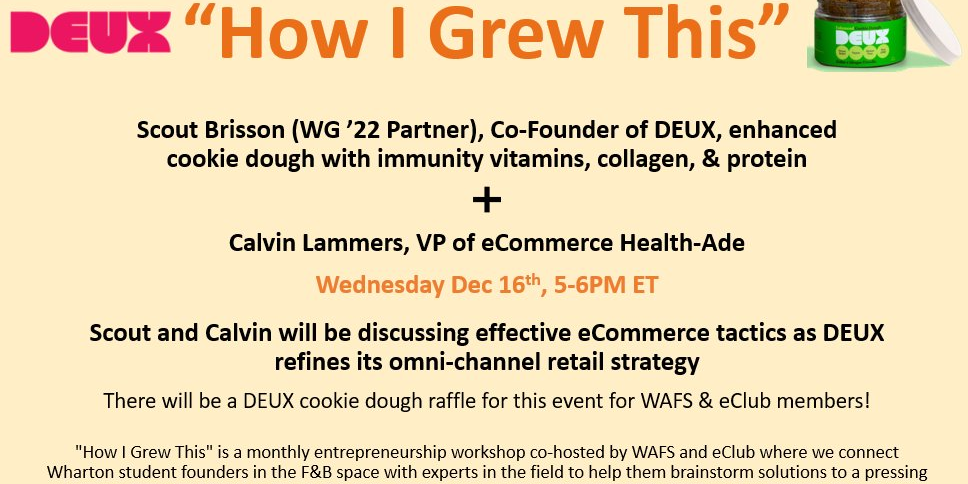 How I Grew This ft. DEUX - eCommerce strategy Event Logo