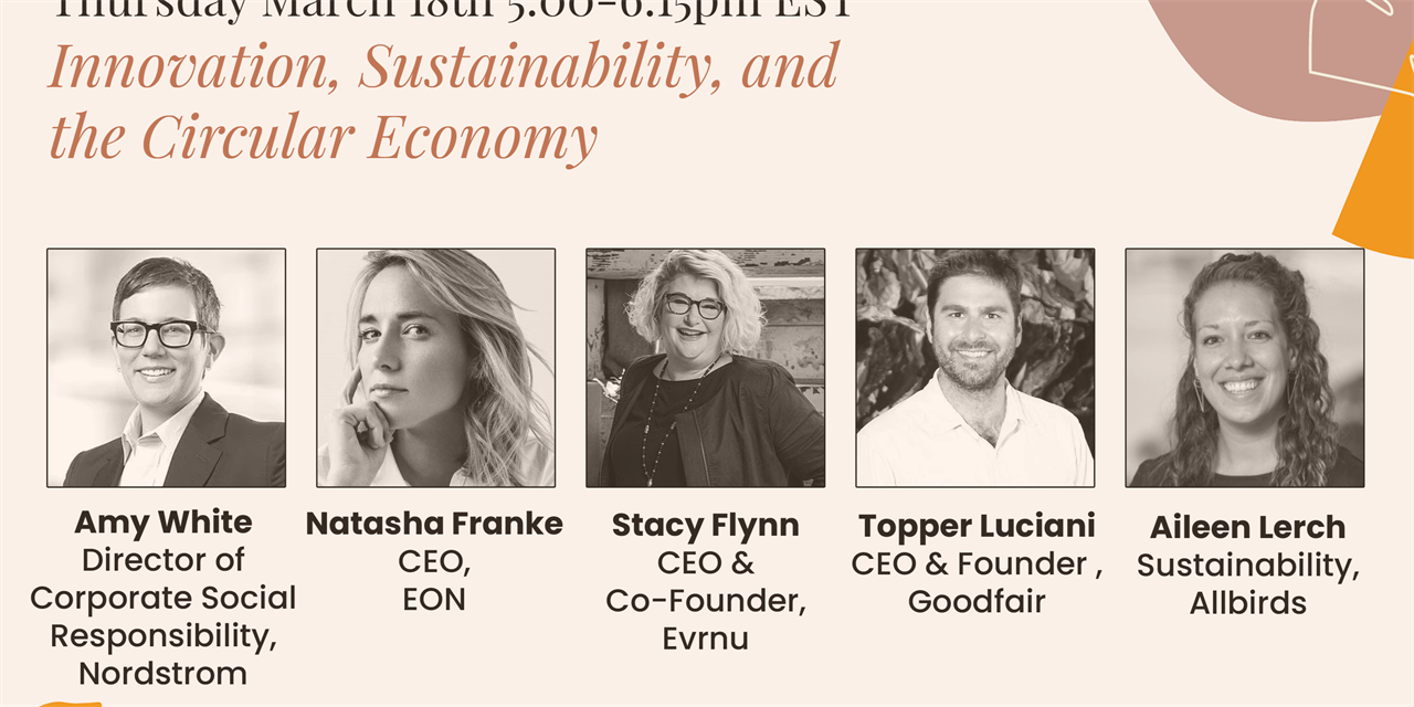 Innovation, Sustainability, and the Circular Economy: Nordstrom, Allbirds, GoodFair, Evrnu, EON Event Logo