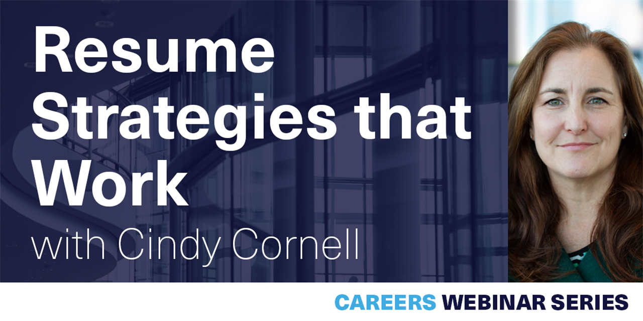 [WEBINAR] Resume Strategies that Work with Cindy Cornell Event Logo